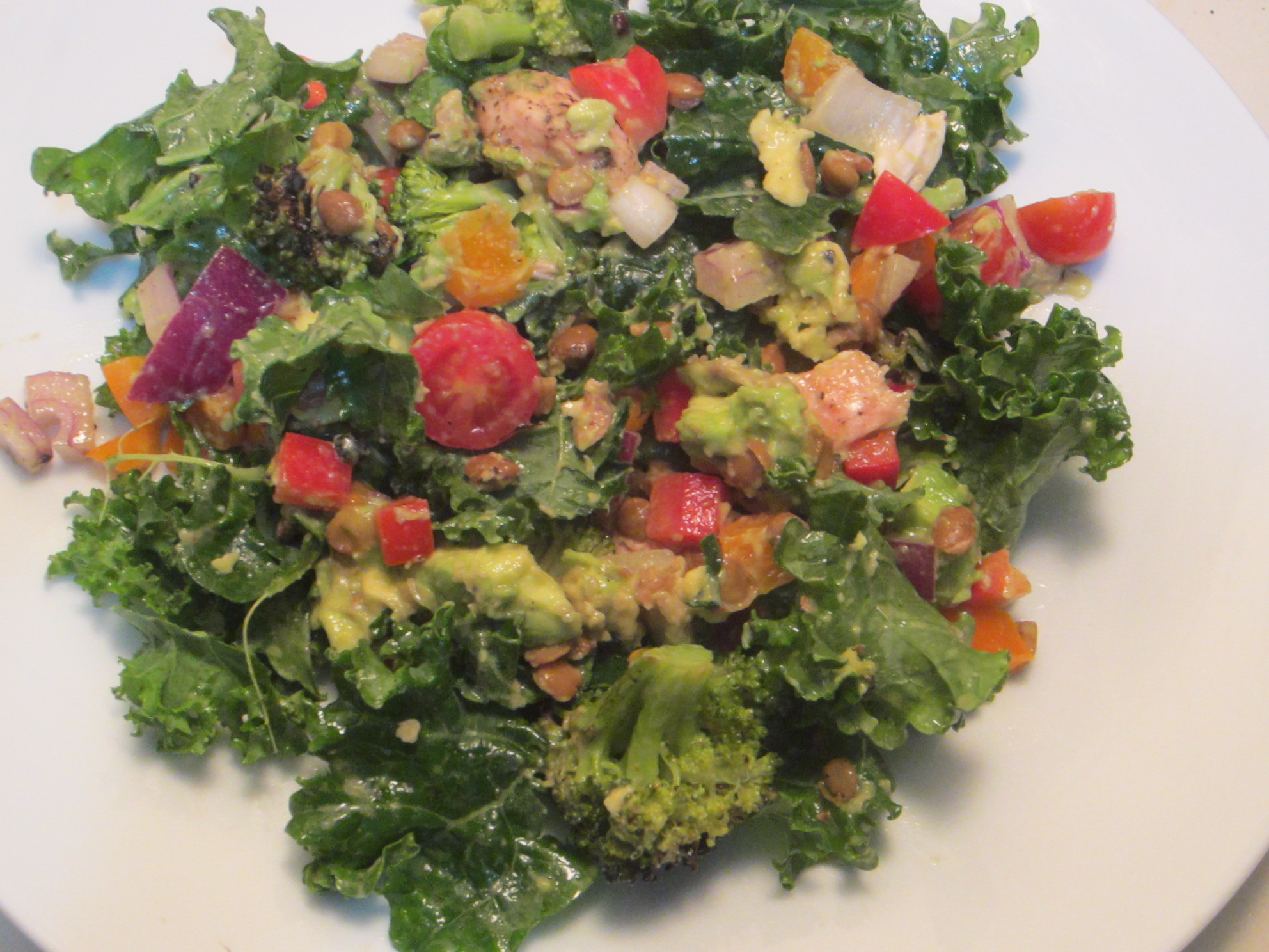 Kale Salad with Chicken and Creamy Cumin Dressing