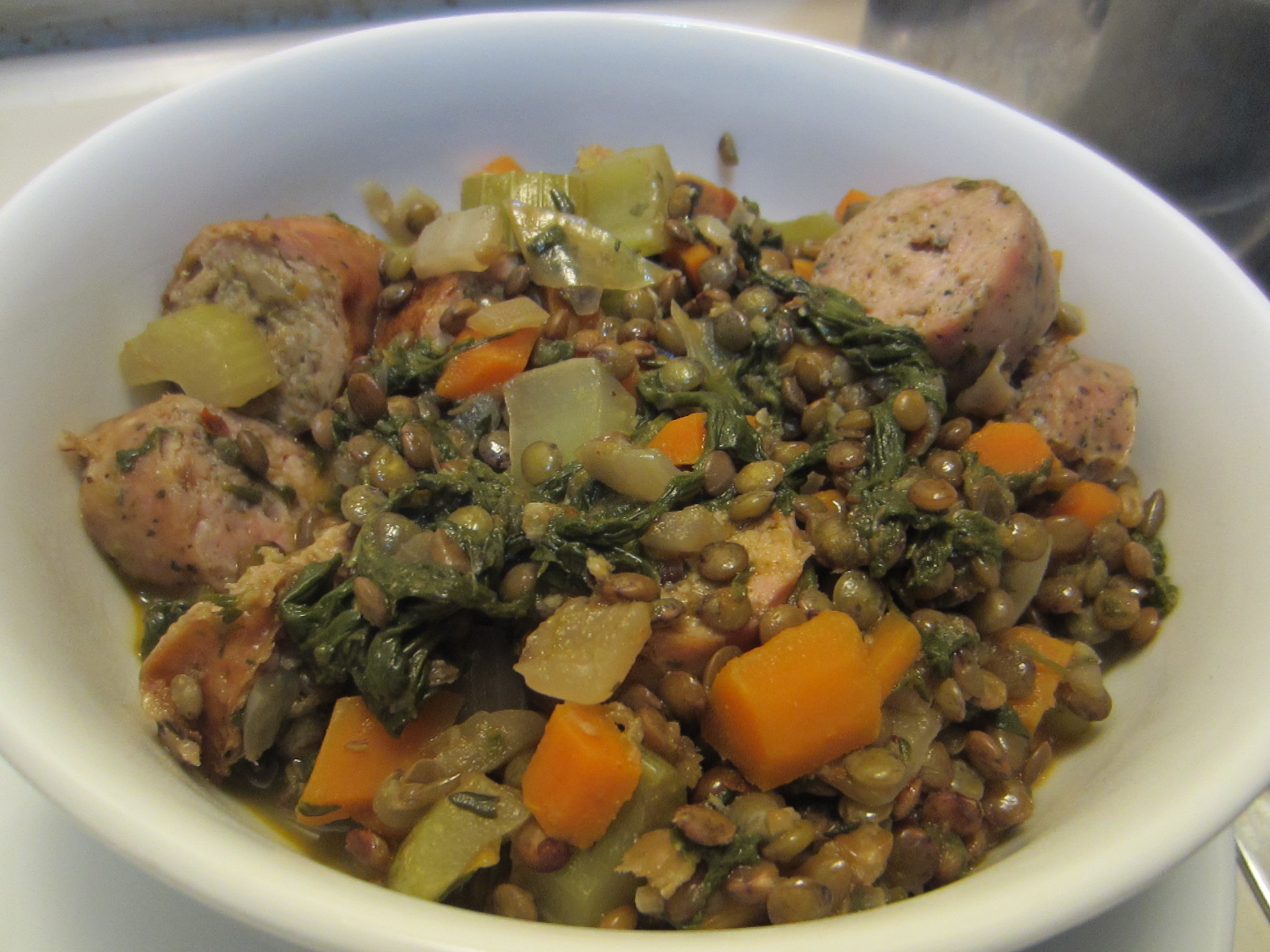 Lentil Stew with Chicken Sausage | The Slow Carb Chef